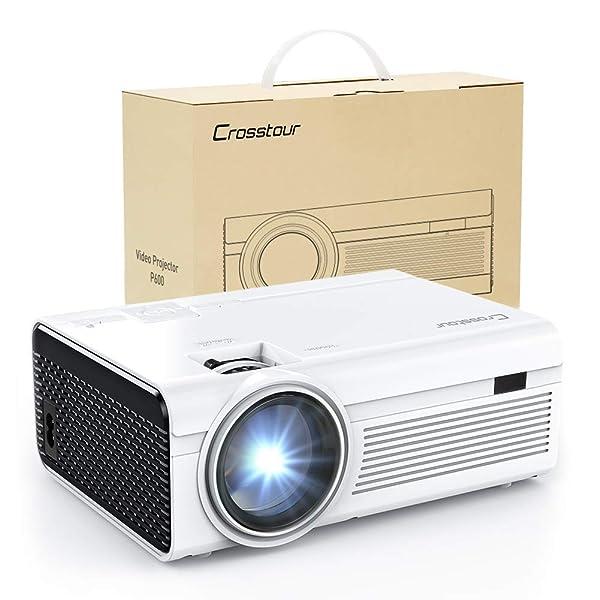 PROYECTOR, MINI PROYECTOR DE VIDEO LED CROSSTOUR TEATRO HOGAR  COMPATIBLE CON 1080P 55,000 HORAS.  Vida útil de la lámpara Compatible con HDMI/USB/Tarjeta SD/VGA/AV y teléfono inteligente (Blanco)