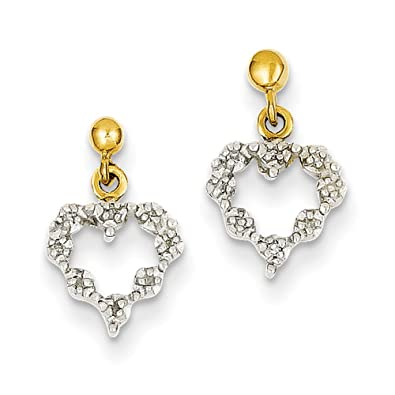 14ct Gold Rough Diamond Heart Earrings - Measures 15x9mm