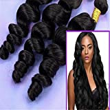 Junhair 5A Cambodian Virgin Human Hair Weave Wavy Loose Wave 3pcs/lot 300gram Natural Colour