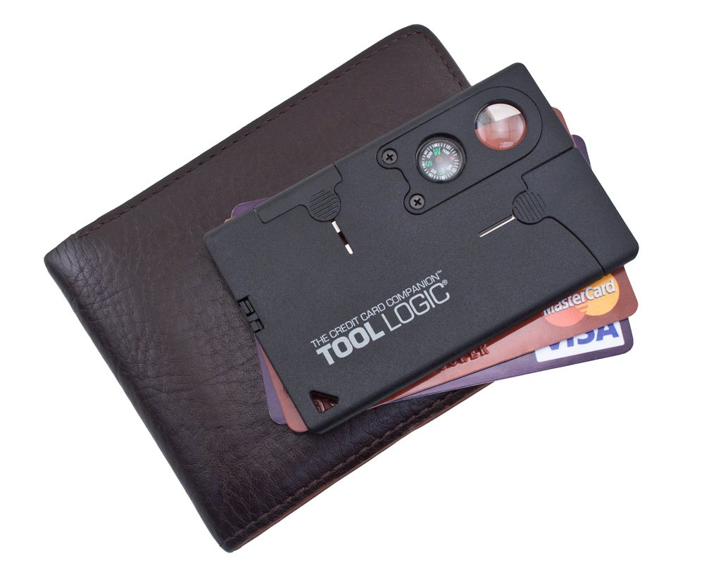"SOG Credit Card Companion with Lens/Compass ToolLogic CC1SB - 9 Tools, Black, 2"" Blade"