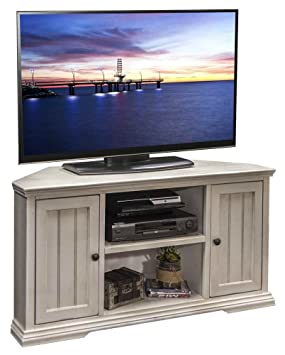 49.75 in. Corner TV Cabinet in Antique White Finish
