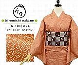 プレタ 袷 洗える着物 ナカノ ヒロミチ  N-101/丹色(にいろ)に梅小花 (Lサイズ)