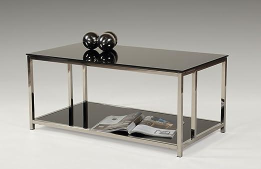 Dreams4Home Couchtisch 'Jonatan' - Wohnzimmertisch, Beistelltisch, Sofatisch, Glastisch,Tisch, Wohnzimmer,(B/T/H) ca. 90 x 50 x 40 cm, in schwarz/chrom