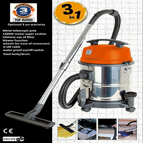 wet-dry-vacuum-cleaner-blower-1400w-20l-230v-stainless-steel-industrial-new