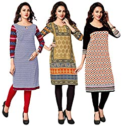 Salwar Studio Women's Pack of 3 Cotton Printed Unstitched Kurti Fabric DT-305-319-313