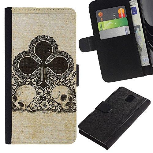 ZCell / Samsung Galaxy Note 3 III / Clubs Ace Gambling Poker Cards Skull / Wallet Custodia Portafoglio Snello Caso Case Cover Armor / Fiori Asso