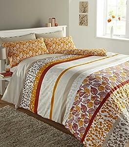 King Size Duvet Quilt Cover Orange Terracotta Polycotton Bedding Bed Set