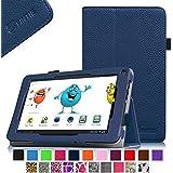 Fintie Odys Pedi Plus 7 Hülle Case - Slim Fit Folio Kunstleder Schutzhülle Cover Tasche mit Ständerfunktion für Odys Pedi Plus 17,8 cm (7 Zoll) Tablet-PC, Marineblau