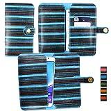Emartbuy® Blau Vintage Stripes PU Leder Mappen Kasten