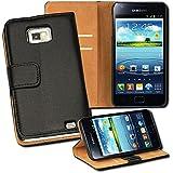 OneFlow PREMIUM - Book-Style Case im Portemonnaie Design mit Stand-Funktion - für Samsung Galaxy S2 / S2 Plus (GT-i9100 / GT-i9105P) - SCHWARZ
