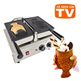 ALDKitchen Taiyaki Fish Waffle Maker 110V | Commercial Use Jam or Ice Cream Waffle Maker | Stainless Steel Taiyaki Maker (Open mouth x 1) (Color: Silver, Tamaño: Open mouth x 1)