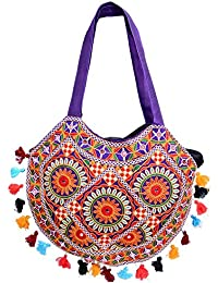Handmade Moon Cut Designer Handbag With Multi Coloured Tussles