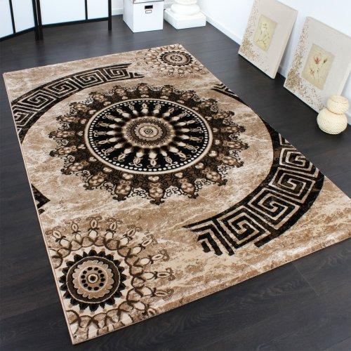teppich-klassisch-gemustert-kreis-ornamente-in-braun-beige-schwarz-meliert-grosse80x150-cm