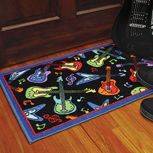 Funky Rainbow Colored Area Rugs: Colorful Guitars Area Rug Entry Mat