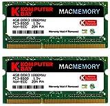 Komputerbay MACMEMORY 8GB (2x 4GB) DDR3 PC3-8500 1066MHz SODIMM 204-Pin アップルコンピュータのためのノートパソコンのメモリ ランキングお取り寄せ
