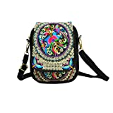 Women's Small Cute Boho Canvas Crossbody Camera Bag Cell Phone Purse with Floral Embroidery