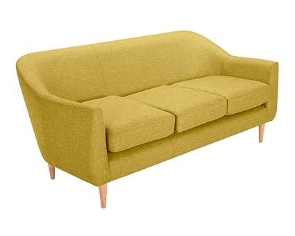 Oxydesign Canapé jaune 3 places design scandinave - Perry