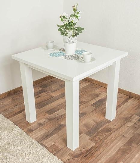 Weißer Esstisch 80x80 cm Kiefer, Farbe: Weiß