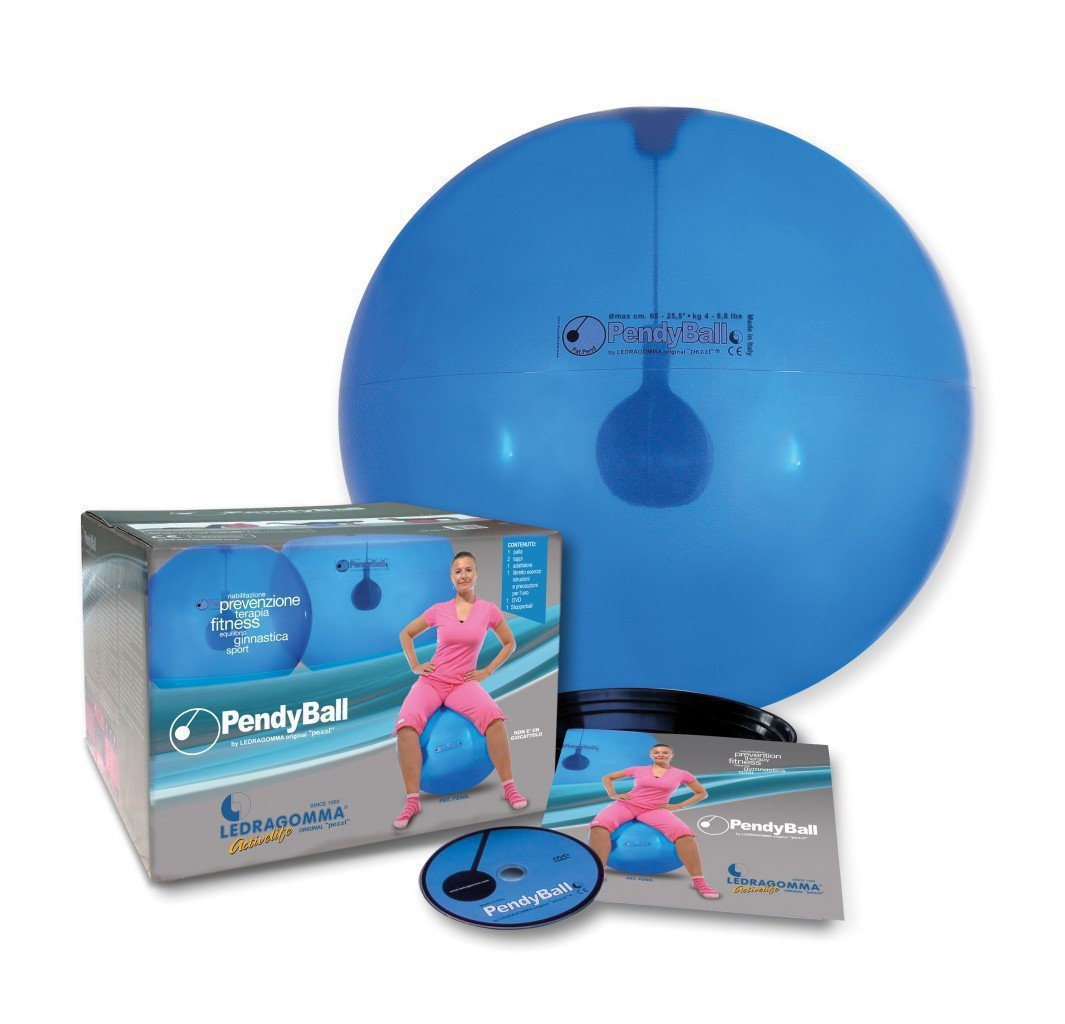 PendyBall by Ledragomma original 'pezzi' / blau-transp. Gymnastikball / Pendel (2 kg) im Inneren Ø 75 cm / Trainingsgerät Reha Rumpfmuskeln online kaufen