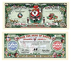 Set of 25-Santa's Official Naughty and Nice List Certificates-GIVE ONE OUT EACH DAY DURING CHRISTMAS