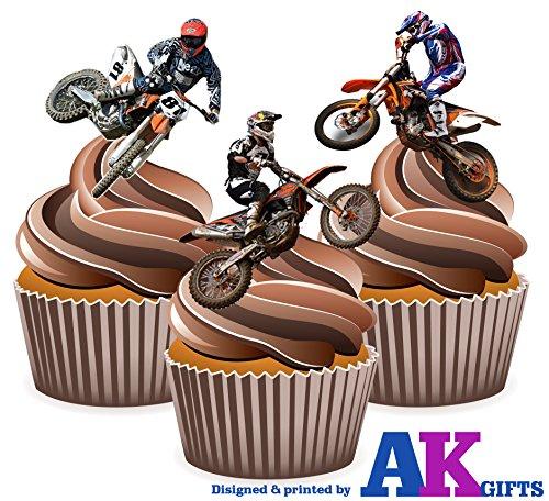 Stunt Riders Motocross - Topper in wafer commestibile per torte, 12 pezzi