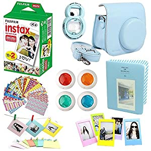 8 in 1 Fujifilm Instax Mini 8 Instant Film Camera Accessories Bundles - Fujifilm INSTAX Mini Instant Film Twin Pack - Blue Case, Selfie Lens, Colored Filters, Wall Hang Frames, Stickers All In One