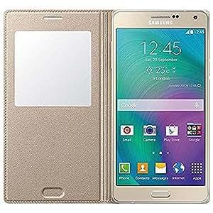 ROKAYATM SView Window Leather Flip Case Cover for Samsung Galaxy J2(2015),GOLDEN