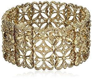 """1928 Jewelry """"Golden Glitz"""" Gold-Tone Stretch Bracelet"""