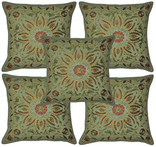 Handmade Embroidery Home Furnishing Cotton Pillow Covers 16 Inches 5 Pcs