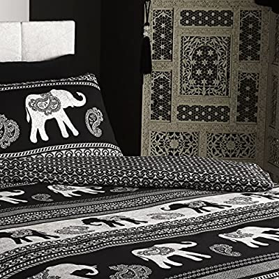 Empire Indian Elephant Animal Double Bed Duvet Quilt Cover Bedding Set Black New