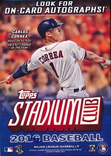 2016-Topps-Stadium-Club-MLB-Baseball-Factory-Sealed-Retail-Box-with-8-Packs-Loaded-with-Parallels-Inserts-Look-for-Autographs-of-Kris-Bryant-Mike-Trout-Carlos-Correa-Nolan-Ryan-Many-More