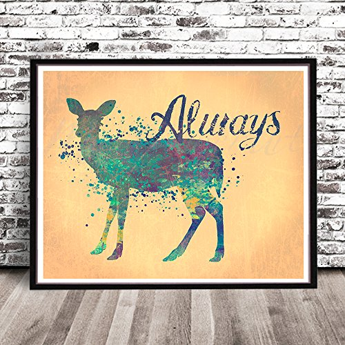 "ALWAYS, HARRY POTTER, DOE PATRONUS Watercolor Styled PRINT by MeiFlowerArt (Small 8.5"" x 11"") silhouette painting, poster, Illustration, drawing, wall decor art work"