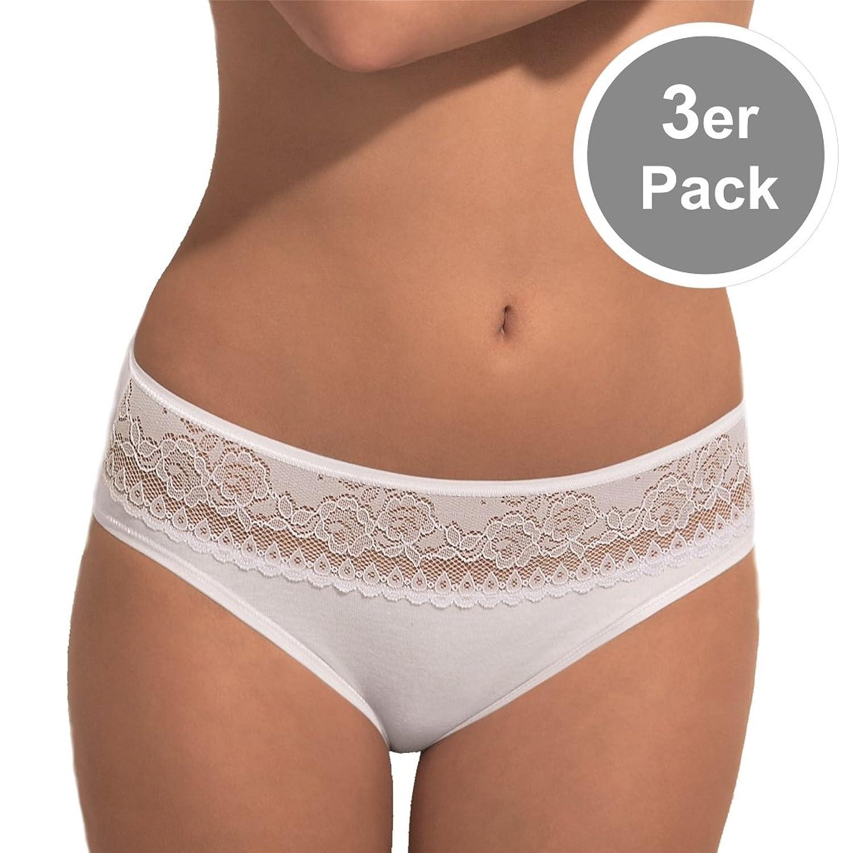 POMPADOUR – Damen Femme 024 – Midi-Slip mit Spitze – Schwarz oder Weiß 3er Pack jetzt kaufen