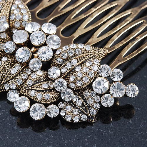 Vintage Inspired Bridal/ Wedding/ Prom/ Party Austrian Clear Crystal 'Leaves & Flowers' Hair Comb In Antique Gold Metal - 80mm 4