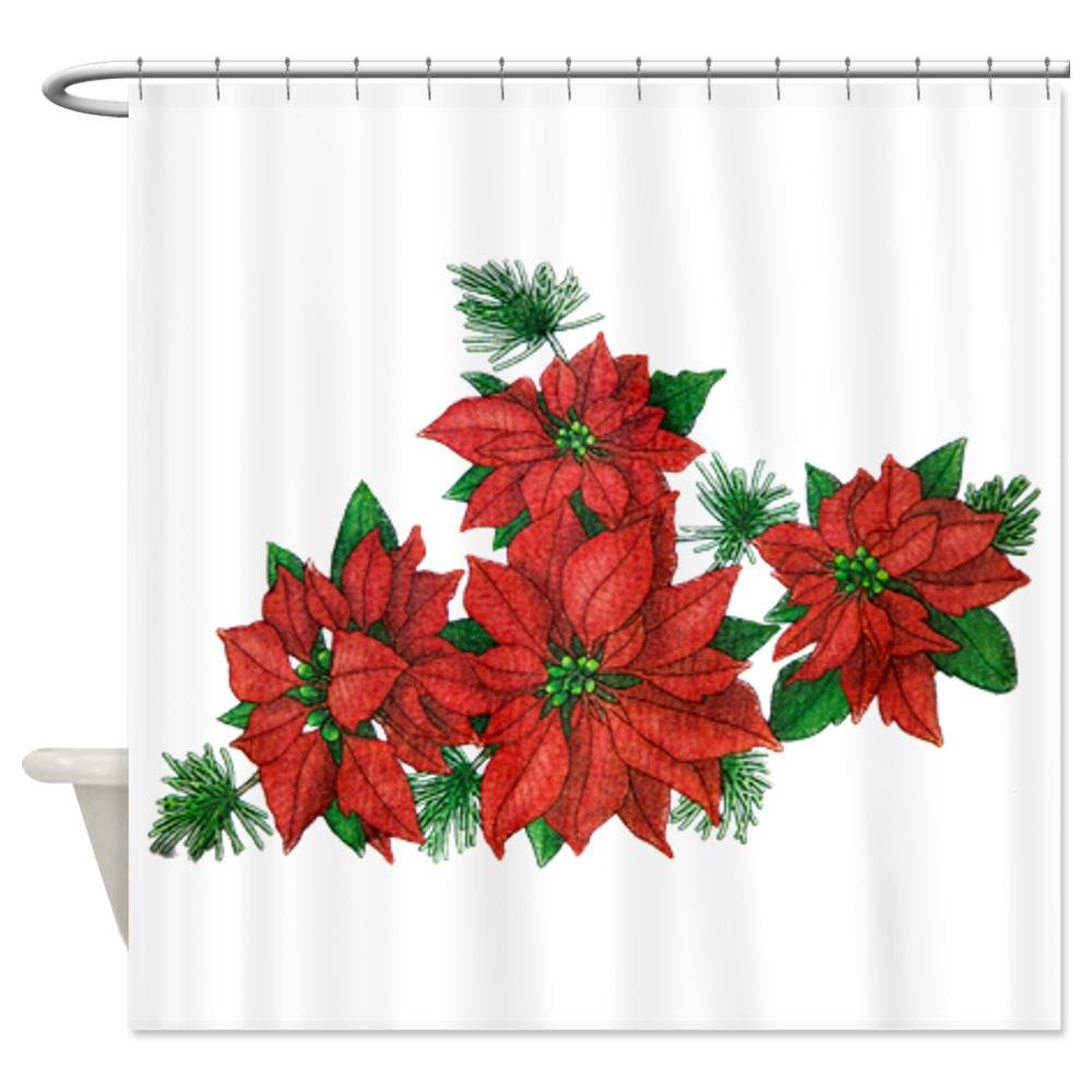 Poinsettia Shower Curtains Christmas Wikii