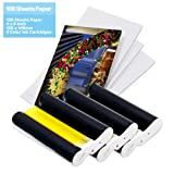 Compatible Canon KP-108IN KP108 3 Color Ink Cartridges and 108 Sheets 4 x 6 inch Paper Set,100 x148mm for Canon Selphy CP1300, CP1200, CP910, CP900, CP760, CP770, CP780,Wireless Compact Photo Printer (Color: White,Black, Tamaño: (4 x 6