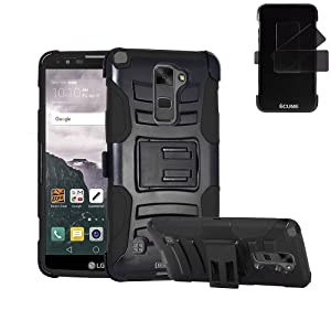 LG Stylo 2 Plus Case, IECUMIE Duo Armor Skin Protective Cover Case W/ Stand, Belt Clip, & Holster for LG G Stylo 2 Plus - Black