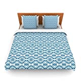 "Kess InHouse Empire Ruhl ""Blue Circle Abstract"" Navy Geometric King Fleece Duvet Cover, 104 by 88-Inch"
