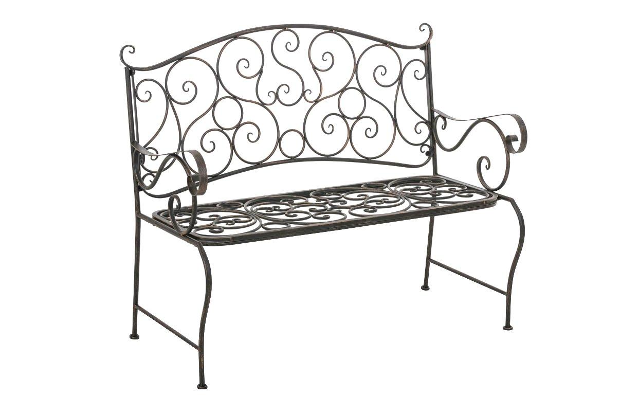 CLP Wunderschöne Gartenbank TUAN aus lackiertem Eisen, im nostalgischen Design, 106 x 51 cm, aus bis zu 6 Farben wählen bronze
