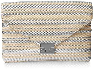 Loeffler Randall Accessories LCKCLTCH-WST Clutch,Natural/Silver,One Size