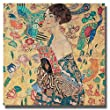 Donna Con Ventaglio by Gustav Klimt Premium Gallery-Wrapped Canvas Giclee Art (Ready-to-Hang)
