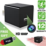 Hidden Camera - Spy Camera - Motion Detection - HD 1080P - USB Hidden Camera - Surveillance Camera - Mini spy Camera - Nanny Camera - Best Spy Camera Charger - Hidden Camera Charger - Improved 2018v2 (Color: Black, Without WiFi)