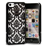 GreatShield TACT Series Design Pattern Rubber Coating Ultra Slim Fit Hard Case Cover for Apple iPhone 5C (Damask - Black)