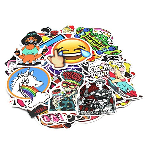 Motorcycle-Car-Stickers-Decals-Vinyls-Pack-of-100-Random-Styles-Mix-Lot-Fashion-Cool-Unique-Graffiti-for-Bike-Bicycle-Bumper-laptops-Skateboard-Snowboarding-Helmet-Travel-Suitcase-Luggage
