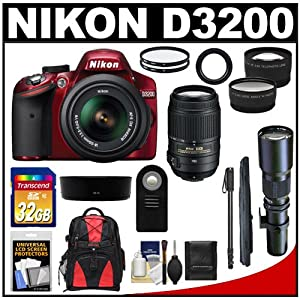 Nikon D3200 Digital SLR Camera & 18-55mm G VR DX AF-S Zoom Lens (Red) with 55-300mm VR & 500mm Tele Lens + 32GB Card + Monopod + Backpack + Telephoto & Wide-Angle Lenses + Accessory Kit