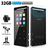 Grtdhx MP3 Player, 32GB MP3 Player with Bluetooth, Hi-Fi Lossless Sound Music Player with FM Radio, Voice Recorder, Pedometer, Expandable up to 128GB TF Card, with Armband and Earphone, Black (Color: 1 32GB)