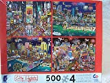 Ceaco City Lights - 4 x 500 Piece Puzzles (New York Las Vegas Miami Atlantic City)