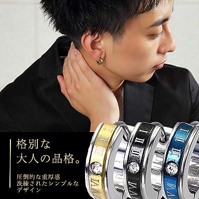 VINTO メンズ ピアス リング フープ 片耳 2個 セット ステンレス ローマ数字 (3色セット)