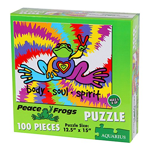 Peace Frogs 100-Piece Kids Puzzle, Multicolored