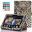 MoKo Amazon Kindle Fire HD 7 2014 Case - Slim Folding Cover Case for Amazon Kindle Fire HD 7 Inch 2014 Tablet, Leopard BROWN (With Smart Cover Auto Wake / Sleep)